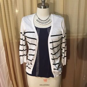 Black and white stripes cardigan 3/4 sleeve
